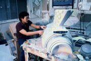 USS Enterprise section model under construction being worked upon bu ILM's Larry Tan