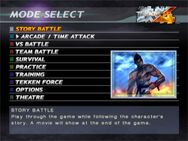 Tekken 4 Game Mode Select