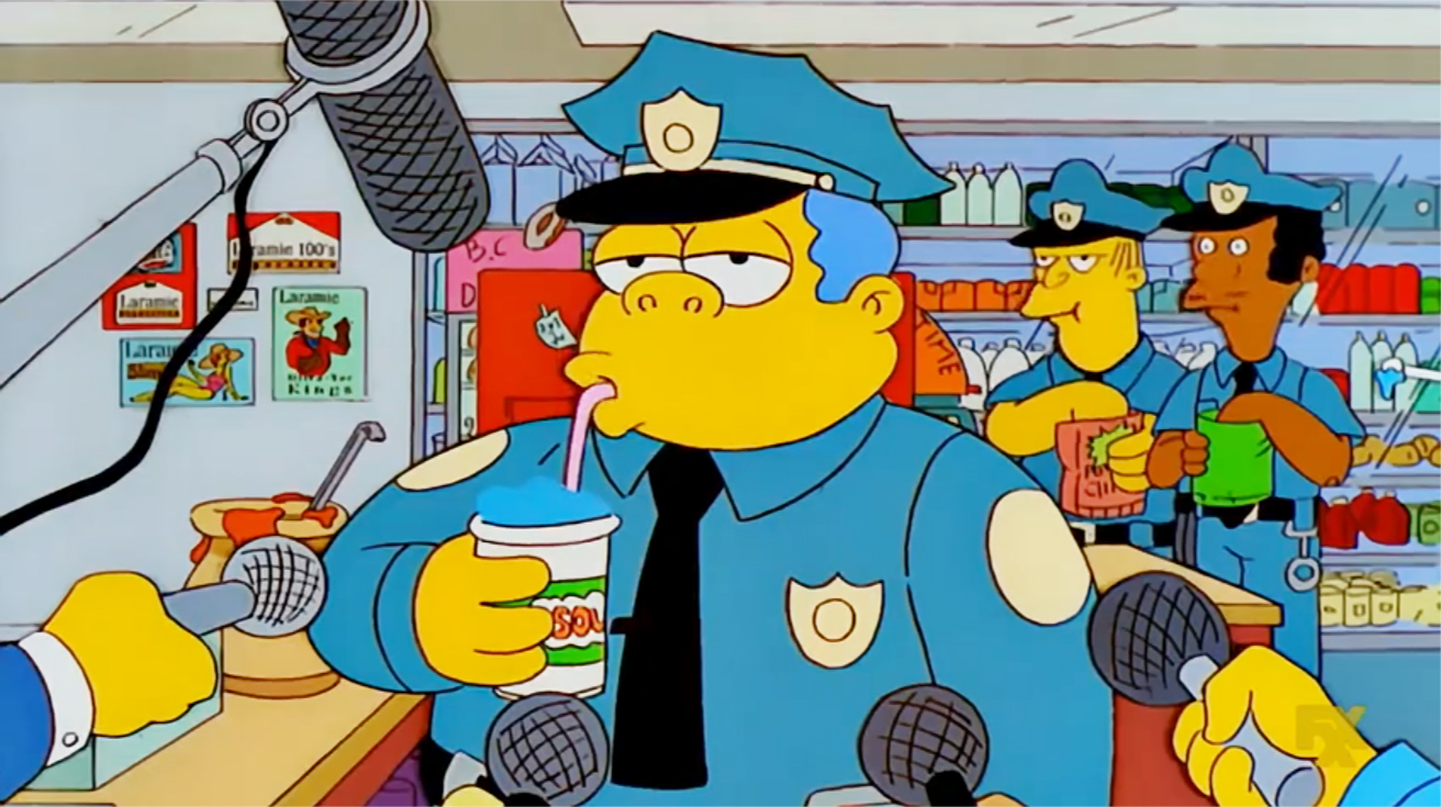 Chief Wiggum drinking a Squishee