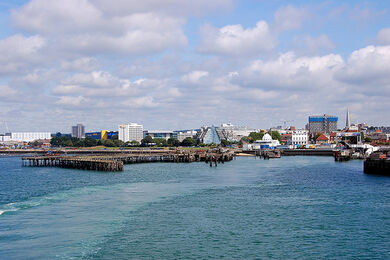 Remains of the Royal Pier in Southampton.Taken from the deck of the Isle of Wight Ferry bound for Cowes.