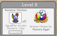 Rainbow Chicken Inside Chinken Coop