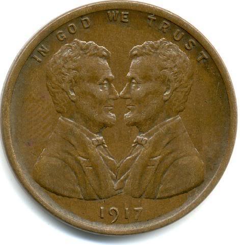 1917 Quot Kissing Lincolns Quot Cent