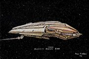Kazon carrier vessel design by Dan Curry
