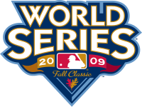 The words &quot;World Series&quot; above the text &quot;2009 Fall Classic&quot; with the logo of Major League Baseball.