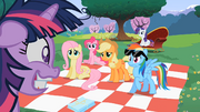 Main 5 ponies looking at worried Twilight S02E03