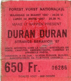 1 ticket 1987 duran duran Forest National, Brussels, Belgium 30 march 1987 concert
