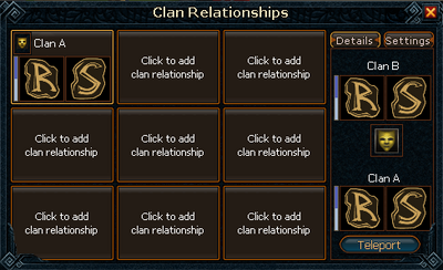 Clan relationships interface