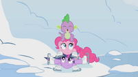 Twilight, Pinkie, and Spike in a pile S1E11