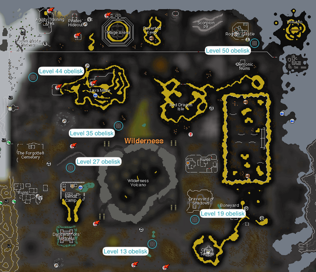 Wilderness obelisks map