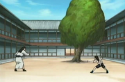 Hiashi entrenando a Neji
