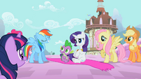 Rainbow Dash appears proud of her save of pony and dragon S02E10