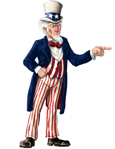 Uncle Sam Full Body Black And White