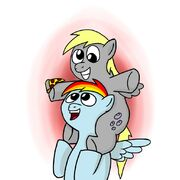 Rainbow Dash taking Derpy to a parade