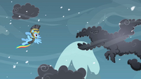 Rainbow Dash about to fight a cloud S2E11