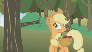 Applejack after bumping into the tree with crossed eyes S1E04
