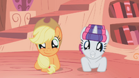 Overjoyed Applejack and Rarity S01E08