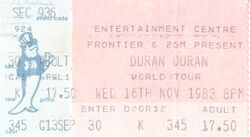 Ticket 16 nov 1983 duran duran Sydney Entertainment Centre, Sydney, Australia