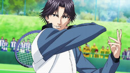 Atobe in action against a random HSer