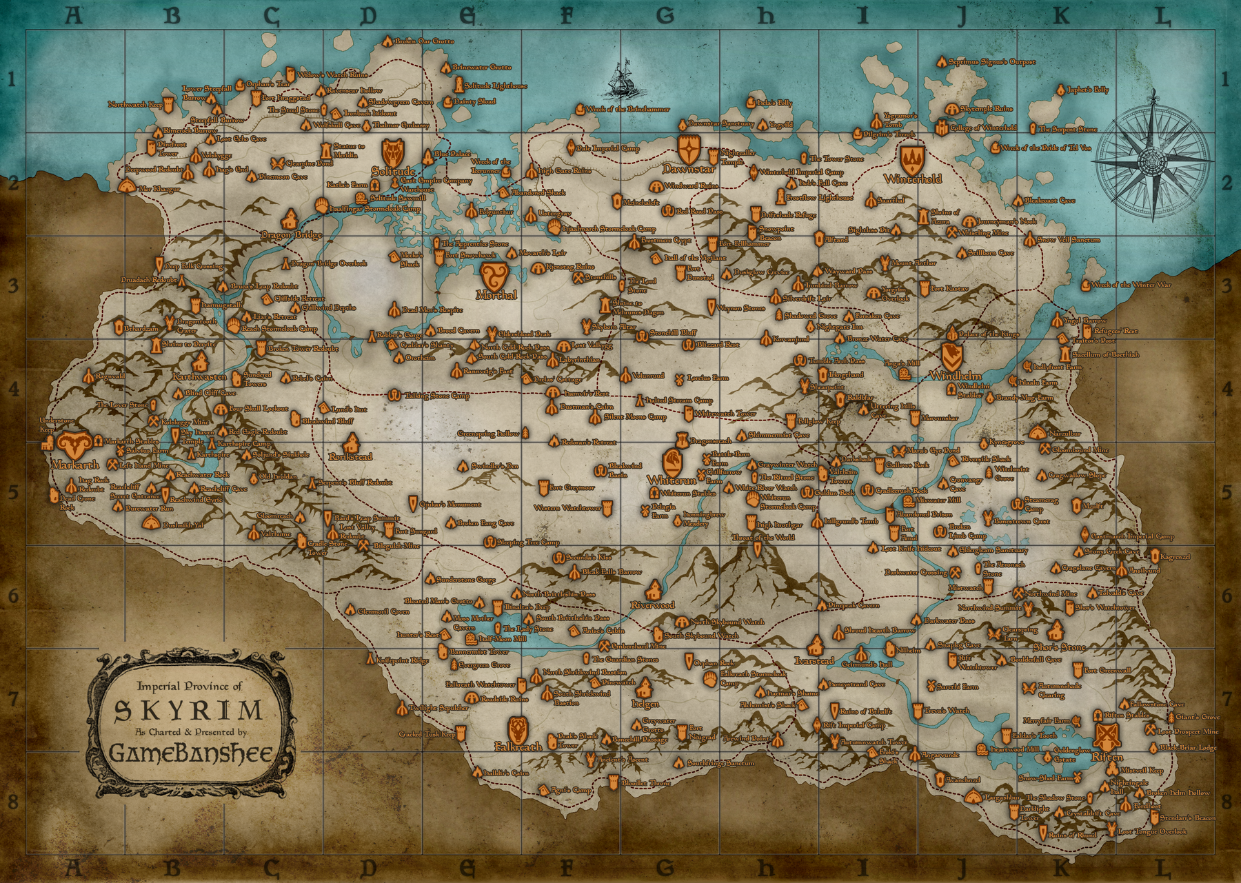 Skyrim Map with All Locations