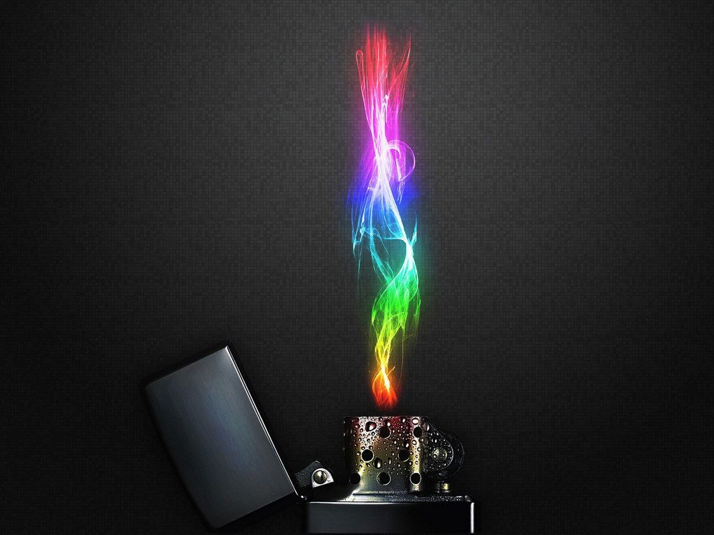 Image Black Background With Multi Color Flame Coming