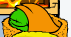 Green puffle sleeping