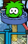 Green puffle playing with furniture