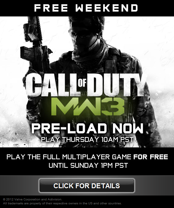 Free weekend MW3