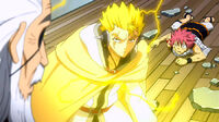 Laxus saves Natsu from Hades attack
