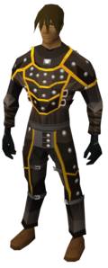 Gold-trimmed leather armour set equipped