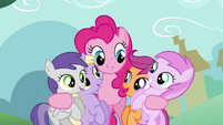 Pinkie Pie hugging fillies S2E18
