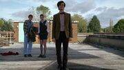 Eleventh Doctor, Amy, Rory on roof The Eleventh Hour