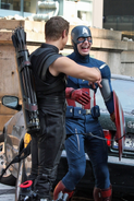 Chris Evans and Jermey Renner on Set