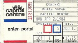 TICKET DURAN DURAN - Concert Ticket Stub CAPITAL CENTRE WIKIPEDIA