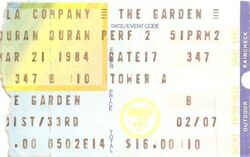 TICKET Madison Square Garden, New York, NY (USA) - 21 March 1984 WIKIPEDIA DURAN DURAN SHOW