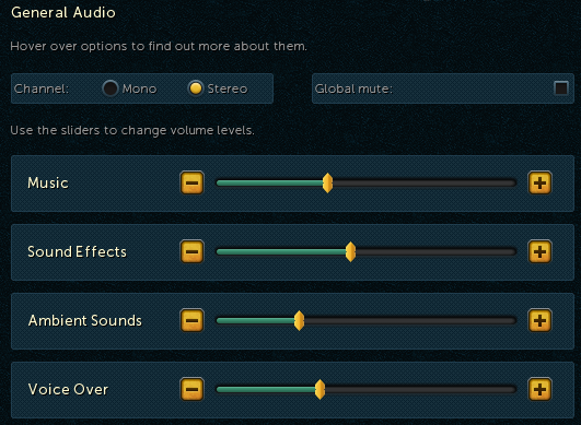 Audio Options screen