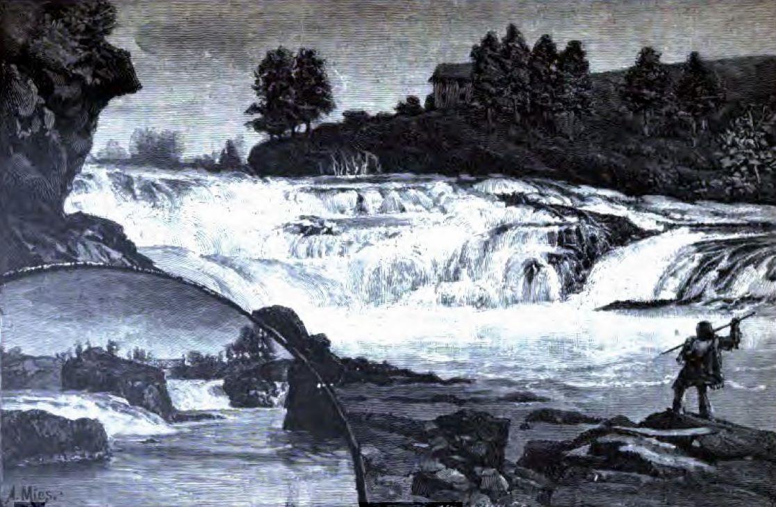 Spokane Falls 1888 Spokane Falls flowing through Riverfront Park in downtown Spokane Washington ...
