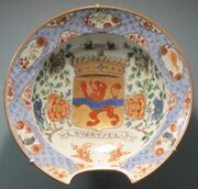 Barber's bowl, c. 1700, China, hard-paste porcelain with underglaze blue famille verte enamel decoration, HAA