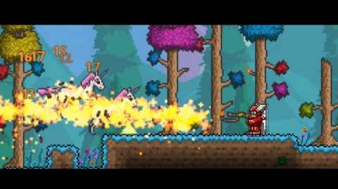 Terraria - 1.1 FlameThrower, Mob Spawner, and Unicorns