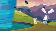 Fluttershy preparing to enter the tornado S2E22
