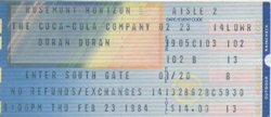 DURAN DURAN 23 FEBRUARY 1984 CHICAGO USED TICKET VERY RARE wikipedia duran duran