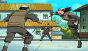 Inoichi controlando a dos ninjas de Suna