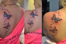 Tattoo buterfly,stars,colour,female,shoulder,back,