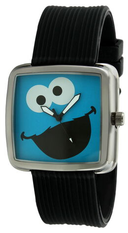Viva time black rubber strap cookie monster