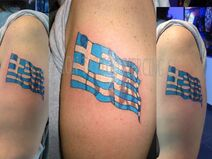 Tattoo Color Flag Greece Waving Realistic movement