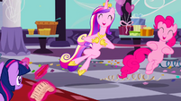 Princess Cadance and Pinkie Pie dancing S2E26