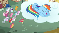 Crowd of ponies watch Rainbow Dash sleep S2E6