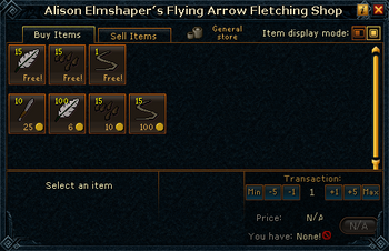 Alison Elmshaper's Flying Arrow Fletching Shop stock