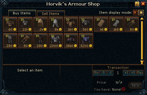 Horvik&#39;s Armour Shop stock