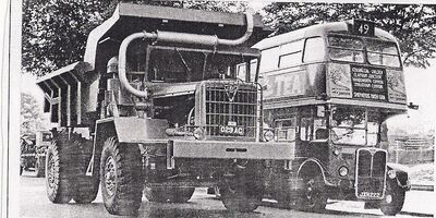 A 1962 AEC 1100 Diesel Dumptruck 4WD and a AEC Routeman bus