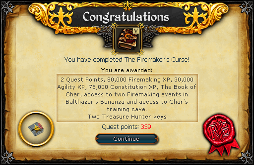The Firemaker&#39;s Curse reward